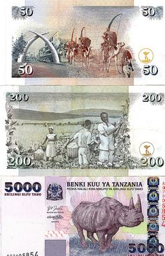 Money that I took home from my trip to Africa. Two Kenyan bills are on top. A Tanzanian bill is on the bottom. Note how the inflation forces the Tanzanian money to leap into the 1000s.