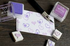 byhoneysuckle Hand-carved rubber stamp Set of 3 in love heart shape romantic.cute.purple.valentine's.mother's day.birthday.symbol.cupid