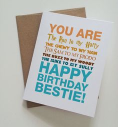Geeky Best Friend Birthday Card - Harry Potter - Star Wars - Lord of the Rings - Toy Story - Monsters Inc