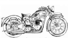 Bike Drawing, Pencil Sketch Drawing, Leaf Drawing, Drawing Ideas, Indian Art Paintings, Modern Art Paintings, Triumph Scrambler, Motorcycle Art, Bike Art