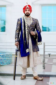 Looking for Sikh Groom in Royal Blue Jacket and White Sherwani? Browse of latest bridal photos, lehenga & jewelry designs, decor ideas, etc. on WedMeGood Gallery. Sherwani For Men Wedding, Wedding Men, Wedding Suits, Wedding Ideas, Wedding Groom, Farm Wedding, Wedding Attire, Wedding Couples, Boho Wedding