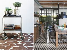 love the brown tiles Geometric Tiles, Interior Windows, Home Board, Architecture, Home Decor Inspiration, Home Kitchens, Living Spaces, Sweet Home, House Design