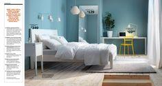 Skønt soveværelse. Er helt tosset med farverne. Især det lille pift af gul. IKEA Catalog 2014