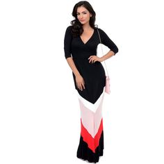 1970s Style Black, Pink & Red Chevron Color Block Jersey Knit Maxi... ($58) ❤ liked on Polyvore