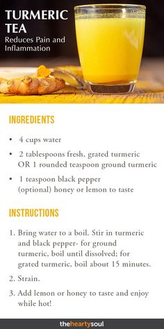 Joint Pain Remedies Say goodbye to your aches and pains with this fresh turmeric tea recipe, perfect for inflammation or any other symptoms/types of chronic pain! Plus, learn more about other natural herb remedies you can try for muscle and joint pain. Fresh Turmeric Tea Recipe, Cooking With Turmeric, Turmeric Recipes, Fresh Tumeric Tea, Tumeric Water, Natural Home Remedies, Herbal Remedies, Health Remedies, Cold Remedies