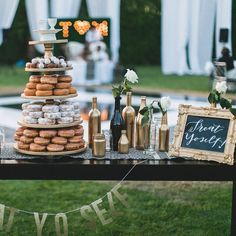 """⠀⠀⠀⠀⠀⠀⠀⠀⠀ SUGAR + CHIC on Instagram: """"Our Treat Yoself sign was perfect for this decadent black and gold dessert table featuring a donut tower!  Event by @wink_weddings, Photo by @rachelcast @ricocast #tmisforever"""""""