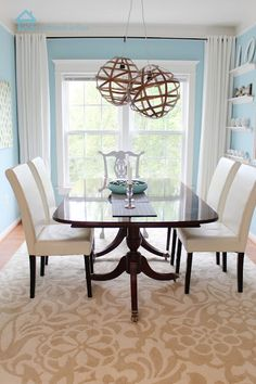 This is a beautiful blue on the walls, unfortunately the color is not mentioned in the blog post.   Remodelando la Casa: Dining Room Reveal and a Giveaway
