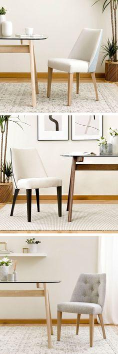 Arles silla  /  Una pieza original para tu comedor.  La silla Arles tapizada en tela de dos tonos diferentes y patas en madera es perfecta para crear un ambiente acogedor y distintivo en tu hogar.  *En la imagen: Arles silla combinada, Arles silla con ribete y Arles silla con capitoné. Wishbone Chair, Dining Bench, Kitchen Design, Furniture, Home Decor, Tela, White Chairs, Upholstered Chairs, Wood
