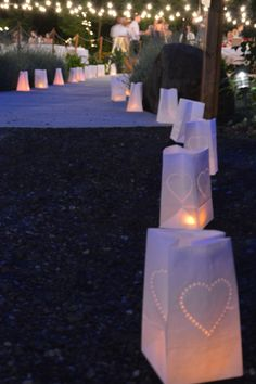 Cape Horn Estate Pathway lined with paper bags with heart punched design and a battery candle Wedding Venue - Portland OR / Vancouver WA
