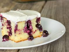 Blueberry lemon poke cake is lemon cake with holes poked in it; drizzled with lemon blueberry sauce; and topped with sweet, lemony whipped topping. Poke Cake Recipes, Dessert Recipes, Dessert Bars, Pie Recipes, Easy Recipes, Recipies, Dinner Recipes, Lemon Cake Mixes, Lemon Poke Cakes