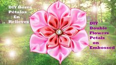 DIY flores doble pétalos en relieves  double flowers petals on embossed