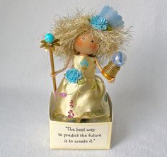 """The best way to predict the future is to create it."" Encouraging words for someone starting out in life or making changes!  Clothespin Doll Fairy Godmother Art Doll by HeartStringsHandmade"