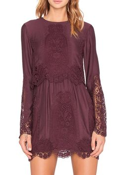 Long Sleeve Combined Lace Dress