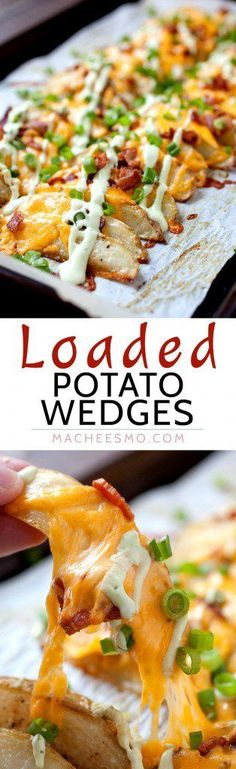 Loaded Potato Wedges Appetizer Side dish Main meal These completely loaded baked potato wedges have can be anything you want Cheddar chives and an avocado sour cream sau. Potato Dishes, Food Dishes, Main Dishes, Potato Food, Dinner Side Dishes, Cooking Dishes, Loaded Potato, Loaded Baked Potatoes, Batata Potato