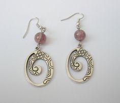 Tibetan Silver Oval Earrings with Purple Crackle Glass by KristasJewellery, $10.00