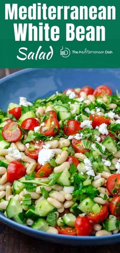 This simple white bean salad is easy to make! Prepared Mediterranean style with lots of fresh, bright flavors it's great for a quick lunch or prepare ahead for a dinner side! Mediterranean Diet Recipes, Mediterranean Dishes, Mediterranean Style, Mediterranean Breakfast, Bean Salad Recipes, Healthy Salad Recipes, Soup Appetizers, White Beans, Soup And Salad