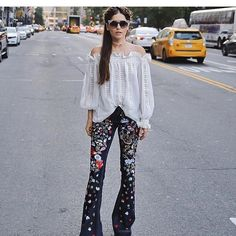Off the shoulder blouse! With funky flare leg pants! Happy Friday!#williamrast #repost #flare#jeans#viviennewestwood#pfw#nyfw#fall#fallfashion