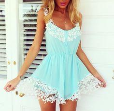 Tiffany blue playsuit romper summer dress