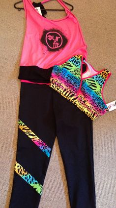 Our Fit Fluro Pink Top, Tigressa Crop Top bra and Tigressa Tights
