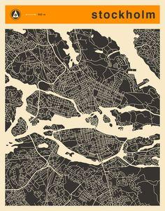 Poster | STOCKHOLM MAP von Jazzberry Blue