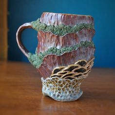 One of the mugs from the last update Still working hard on new stuff, but have gotten a little bit behind and trying to play catch up. Still Working, Working Hard, Be Still, Clay Texture, Different Kinds Of Art, Polymer Clay Crafts, Ceramic Mugs, Pottery Ideas, Clays