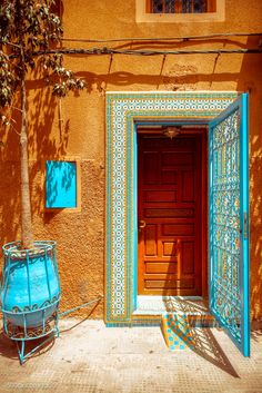 moroccan color palette: Morocco The Combination Of Colors Is Perfect Favorite Places Moroccan Style Color Palette Paint De Cool Doors, Unique Doors, The Doors, Windows And Doors, When One Door Closes, Boho Home, Photos Voyages, Moroccan Style, Moroccan Colors