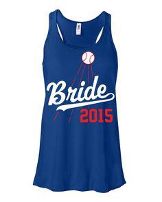 Bride Flowy Racerback Shirt Tank Dodgers Baseball by ShopLintyCat Bride Shirts, Wedding Shirts, Dodgers Shirts, Dodgers Baseball, Softball Wedding, Bachelorette Party Shirts, Bachelorette Ideas, Bride Accessories, Tank Shirt
