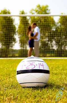 engagement photo ideas, outdoor engagement session, www.erinoswalt.com, engagement session poses, soccer ball prop