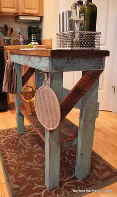 FARMHOUSE – INTERIOR – early american decor inside this vintage farmhouse seems perfect like this rustic kitchen island from reclaimed wood. Pallet Furniture, Furniture Projects, Kitchen Furniture, Rustic Furniture, Home Projects, Kitchen Decor, Kitchen Design, Distressed Furniture, Furniture Stores