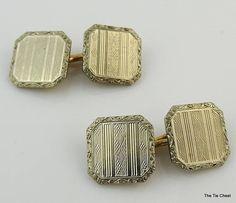 Beautiful design on these fabulous cufflinks! Vintage 1920's Krementz Cufflinks #thetiechest