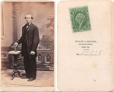 WELL DRESSED MAN, CIVIL WAR ERA, 1865 WITH 3 CENT STAMP, YORK PA, CDV