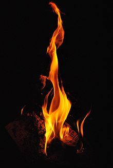 "fire: ""rapid oxidation of a material in the chemical process of combustion"""