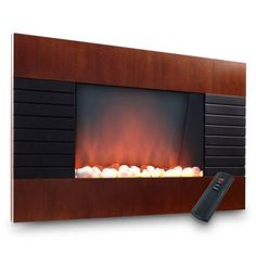Prolectrix Mahogany Electric Fireplace Heater with Remote   Find it at the Foundary
