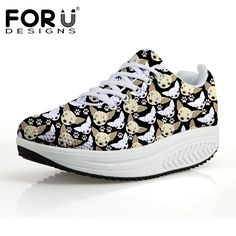 >> Click to Buy << FORUDESIGNS Cute Chihuahua Dog Puzzle Prints Platform Shoes Women Fashion Women's Casual Height Increasing Swing Shoes Shape Ups #Affiliate