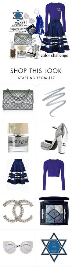 """""""Happy Hanukkah!!"""" by harperleo ❤ liked on Polyvore featuring Chanel, Sue Devitt, Smith & Cult, Cushnie Et Ochs, Kate Spade, Christian Dior, St. Nicholas Square and blueandsilver"""