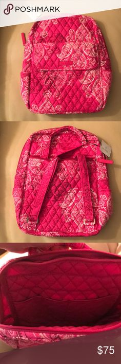Vera Bradley Backpack Brand New - Stamped Paisley! Vera Bradley Backpack - Brand new with tags! Pattern is Stamped Paisley. Front of Backpack has a magnetic close pouch and the back has a zipper. The inside has two pockets.   Please see other listings for other Vera Bradley items in this pattern. Vera Bradley Bags Backpacks