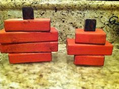Cute wooden block pumpkins, perfect to add to your fall decor.