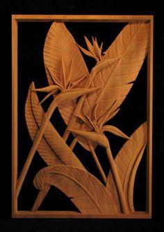 Wood Panel - Pierced Bird of Paradise