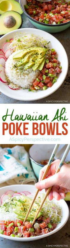 This Healthy Hawaiian Ahi Poke Bowl Recipe is sweet summery perfection. You'll feel like your practically in Hawaii with Madhava naturally sweet honey in this poke bowl | Use Madhava Golden Light Agave for best results! >> madhavasweeteners.com