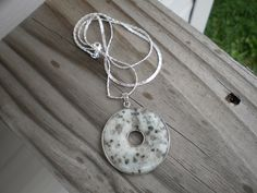 Kiwi Jasper Gemstone Donut Pendant Necklace by tlw1212 on Etsy