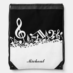 Musical Notes Drawstring Backpack with Custom Name Black Rope, Back To Black, Solid Black, Music Backpack, Everywhere You Go, Anniversary Quotes, Love Messages, Black Trim, Keep It Cleaner