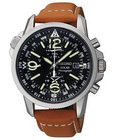 Seiko Watch, Men's Chronograph Solar Tan Leather Strap 42mm SSC081