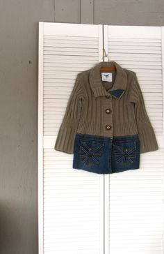 Jacket upcycled clothing Funky denim sweater by lillienoradrygoods, $65.50
