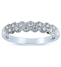 1/4 Carat Vintage Style 2-Row Floating Diamond Wedding Band with Milgrain Accent in 14k White Gold (HI, I1-I2)