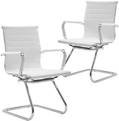 Wahson Heavy Duty Leather Office Guest Chair Mid Back Sled Reception Conference Room Chairs, Set of 2 (Pure White) Office Guest Chairs, Swivel Office Chair, Office Reception, Outdoor Chairs, Outdoor Furniture, Outdoor Decor, Conference Room Chairs, Sled, Pure White