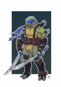 Teenage Mutant Ninja Turtles - Leonardo by Alex Redfish * Ninja Art, Ninja Turtles Art, Teenage Mutant Ninja Turtles, Thundercats, Tmnt, Comic Books Art, Comic Art, Nemo, Bd Comics