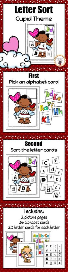 Your preschool or kindergarten students will love working with this fun and engaging letter sorting activity during your Valentine's day or  Cupid unit!
