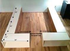 IKEA Bookshelves turned into a Queen-Sizes Bed