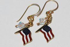 American Flag Earrings Gold Patriotic Swarovski by ornatetreasures