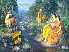 कवितावली_अरण्यकाण्ड_मारीचानुधावन {गोस्वामी श्रीतुलसीदास लिखित} :-  पंचबटीं बर पर्नकुटी तर बैठे हैं रामु सुभायँ सुहाए I  सोहै प्रिया, प्रिय बंधु लसै, 'तुलसी' सब अंग घने छबि-छाए II देखि मृगा मृगनैनी कहे प्रिय बैन, ते प्रीतमके मन भाए I  हेमकुरंगके संग सरासनु सायकु लै रघुनायकु धाए II भावार्थ :- पंचवटीमें सुन्दर पर्णकुटीके समीप स्वभावसे ही सुन्दर भगवान श्रीरामचन्द्रजी बैठे हैं I (साथमें) प्रिया (श्रीजानकीजी) और प्रिय बन्धु (श्रीलक्ष्मणजी) शोभित  हैं I गोसाईं श्रीतुलसीदासजी कहते हैं- उनके सब अंग…